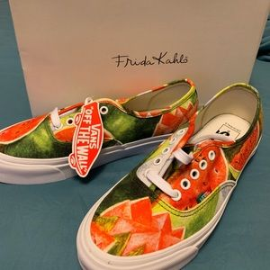 Frida Khalo watermelons/True white Vans